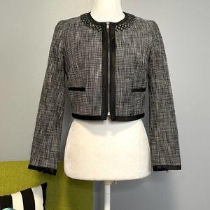H&M Black White Tweed Cropped Moto Blazer Jacket